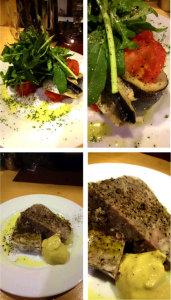 自家製豚肉のパテと今が旬! サンマとトマトのオーブン焼き