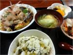 お好み焼きと高菜ご飯セット